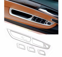 4pcs Stainless Steel Interior Armrest Window Lift Button Cover Trim For BMW X5 E70 2009 2013