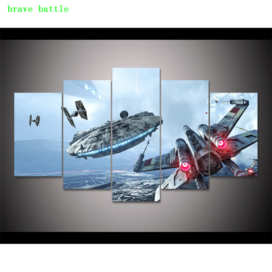 Star Wars Battlefront Fighter 5 Pieces Canvas Painting Print Living Room Home Decor Modern Wall Art Oil Painting Poster image