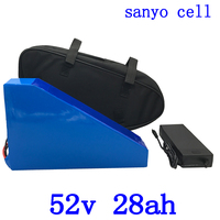 52v battery 51.8V 28AH lithium battery 52V 28AH electric bicycle battery use sanyo cell with 58.8V charger and free bag free