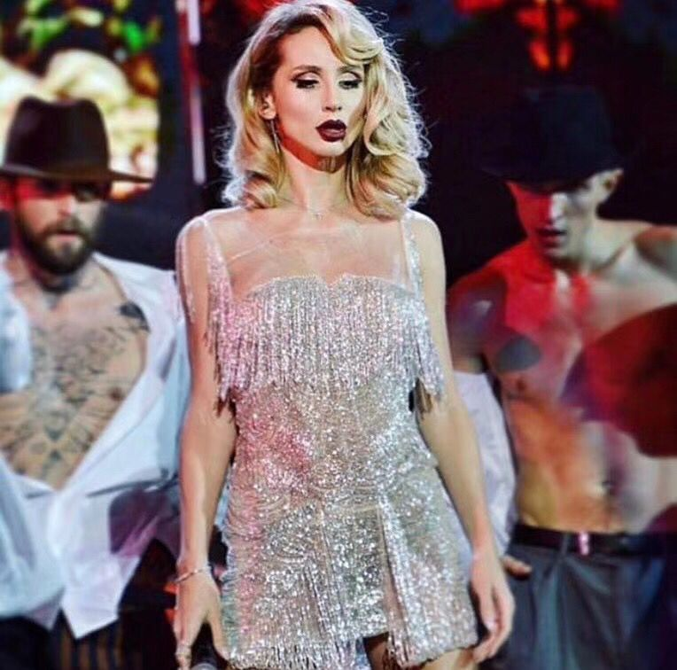 Celebrity Sleeveless Tassel Silver Sequined Dress Bodycon Elegant Night Club Party Dress