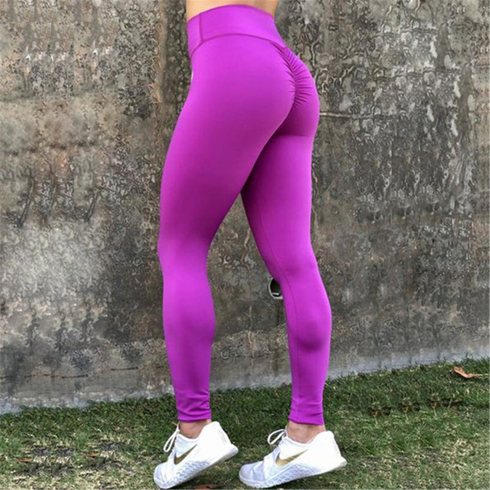 Female Fitness Push Up   Leggings   Women Polyester Solid Casual high Waist Ankle-Length Plus Size Legins Workout   Leggings   Female