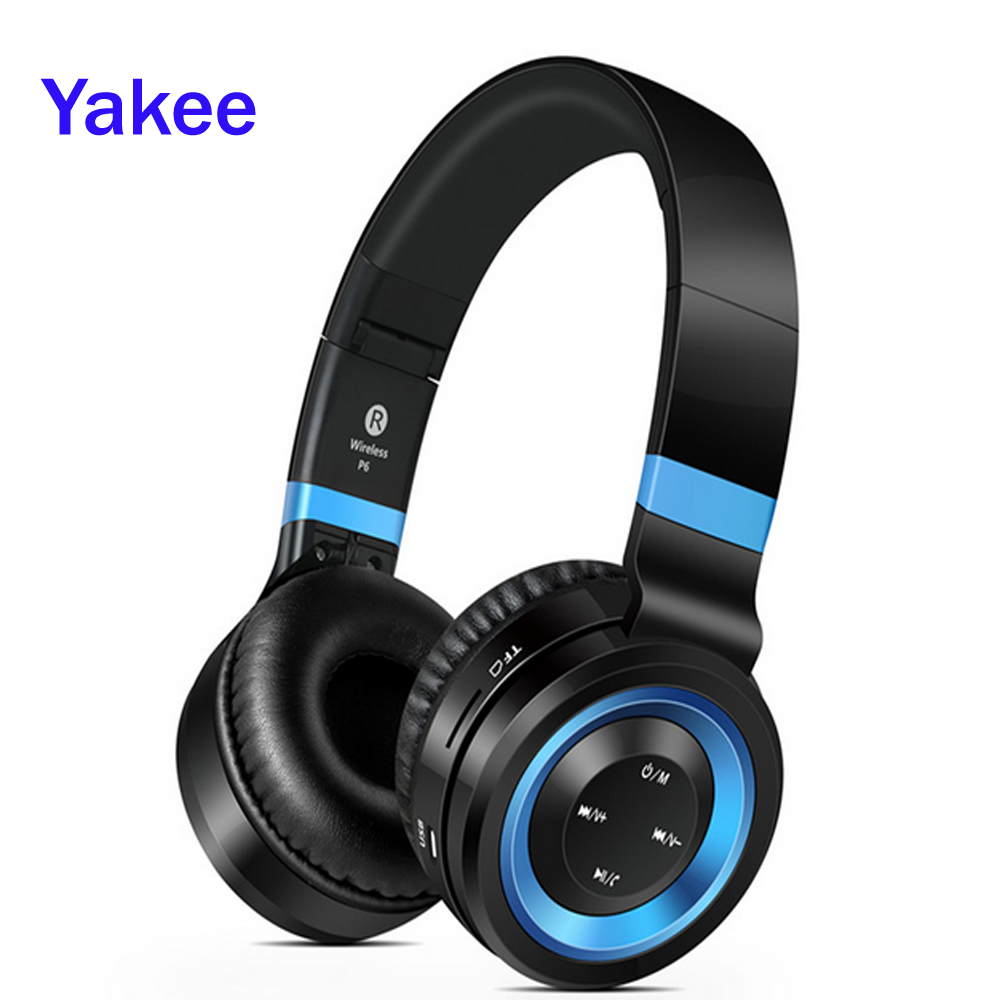 Yakee P6 Bluetooth Headphone With Mic Wireless Headphones Support TF Card FM Radio Bass Headset For iPhone Xiaomi PC Gift ks 508 mp3 player stereo headset headphones w tf card slot fm black