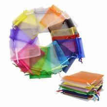 9x12cm 20pcs Organza Packaging Bags Drawstring Gift Candy Ca