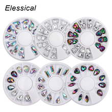 Elessical 8 Styles Heart Triangle Water Drop Horse Eyes Square Designs Acrylic Rhinestones Charm Shining 3D Nail Art Decorations цена 2017