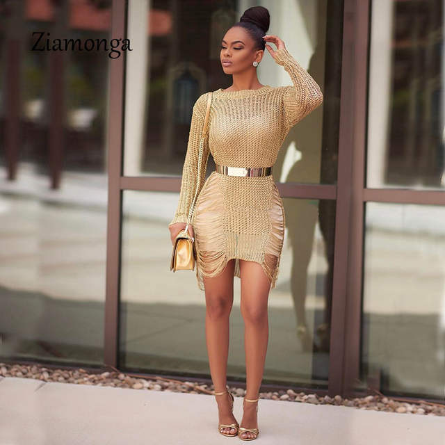 a28046ffb3a Online Shop Ziamonga Gold Metallic Knitted Shredded Sweater Dress Popular  Stretch Sexy Ladder Cut-Out Metallic Sequins Dress Beach Wear