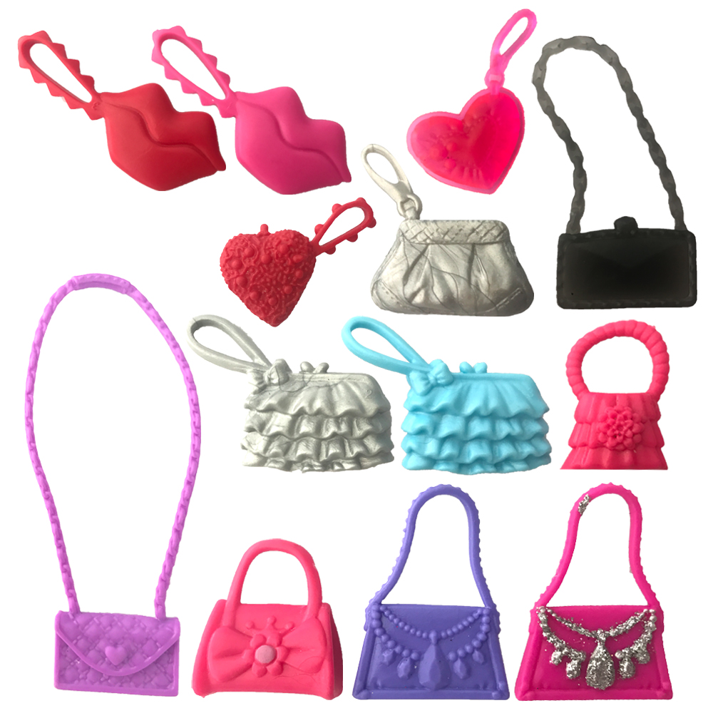 NK 3pcs /Lot  Randomly Cute BagsFor Barbie Dolls Accessories Mix Bag Shaped Kids Toys Lovely Kids Gift Parts For Doll DZ