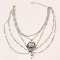 12pcs/lot Blue Beeds Hang On The Hollow Pendent Multilayer Anklet Wear On The Legs Make Leg More Slim For Woman Jewelry