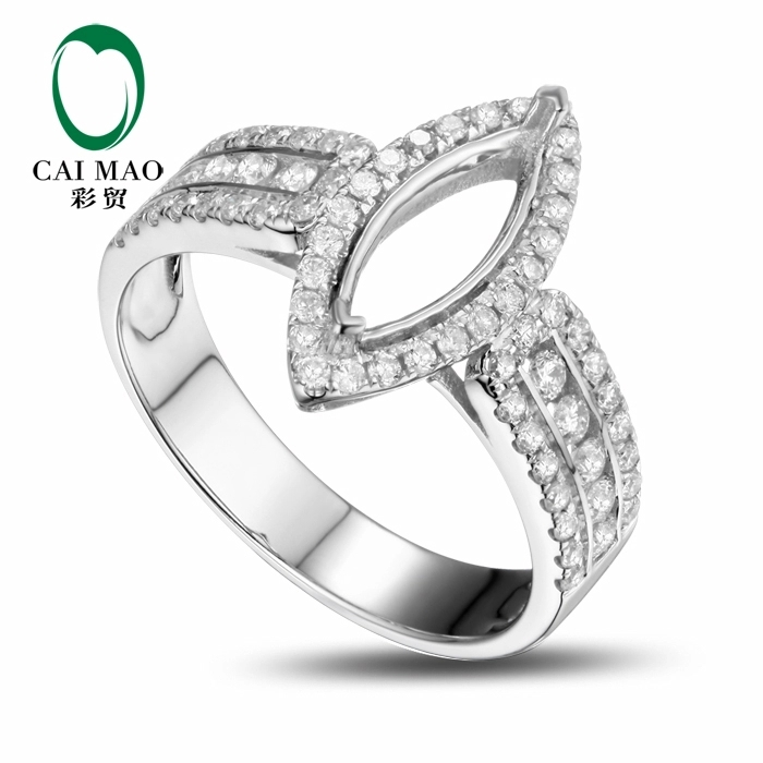 CaiMao Marquise cut Semi Mount Ring Settings & 0.63ct Diamond 18k White Gold Gemstone Engagement Ring Fine Jewelry