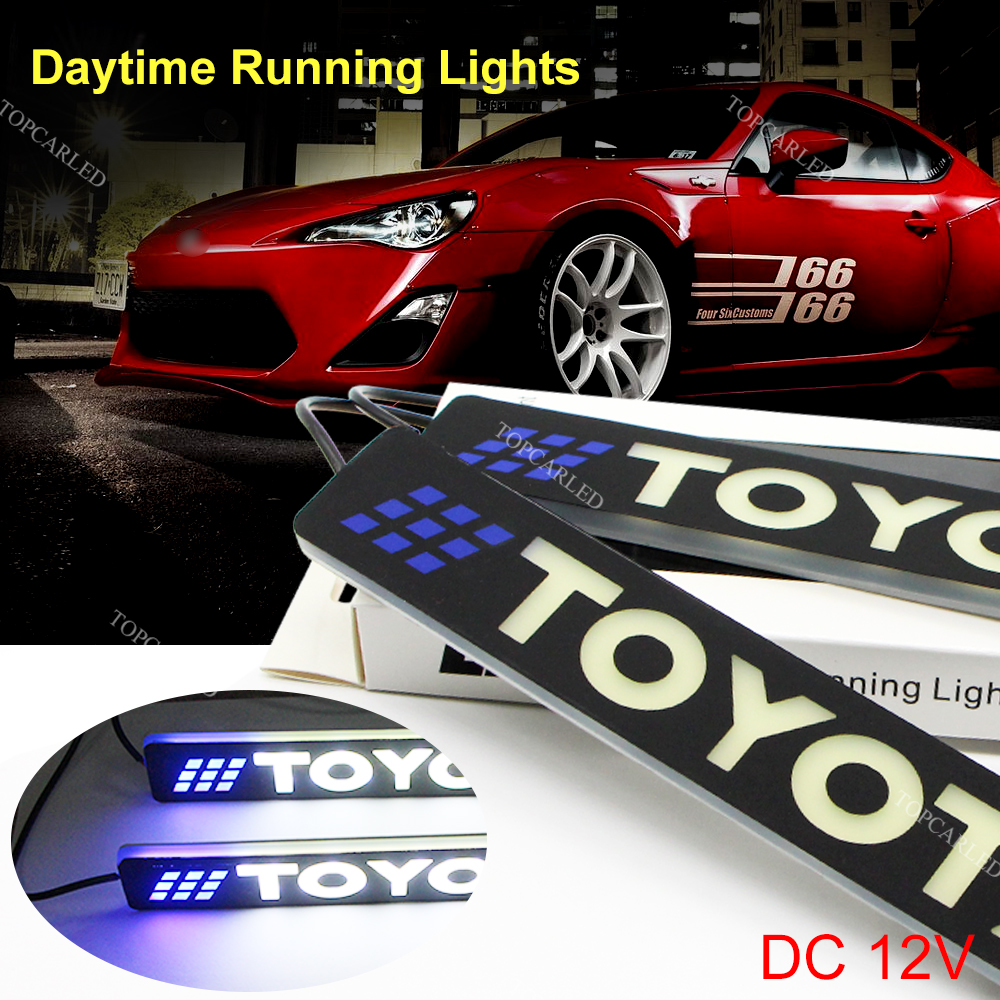 2Pcs LED 12V COB DRL Daytime Running Lights for TOYOTA Super Bright Auto Driving Lamp Silicone Bendable Day Light Car-styling leadtops led daytime running light 2pcs 100% cob chip led diy drl fog car lights car day lamp 12v for audi vw toyota mazda be
