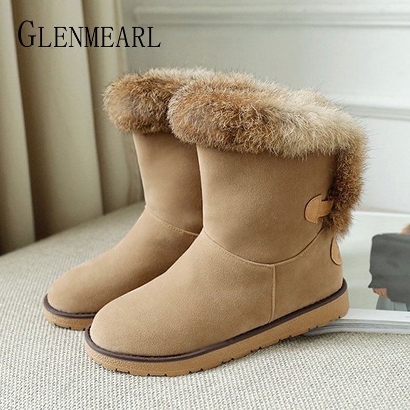Winter Snow Boots Woman Slip On Real Rabbit Fur Shoes Warm Platform Fashion Women Ankle Boots Round Toe Plush Plus Size Black DE цены