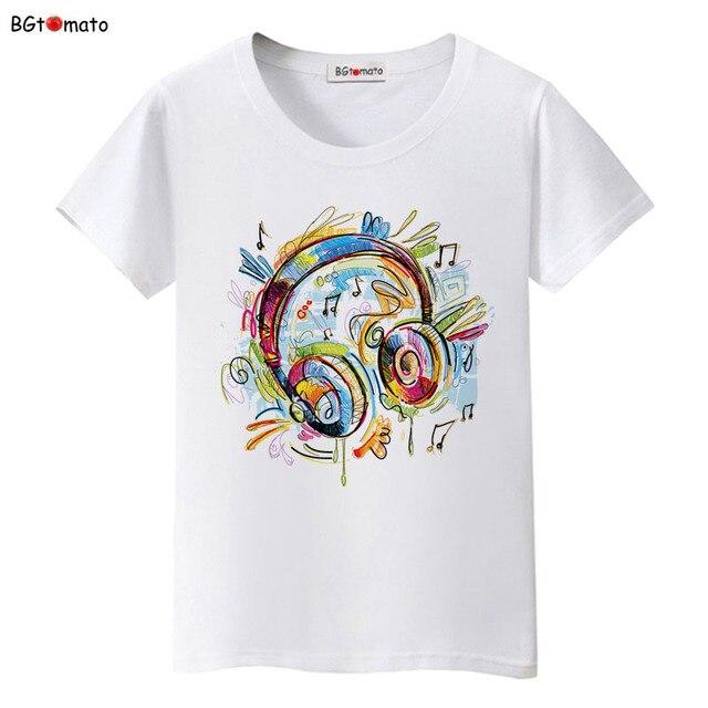 280827b7 BGtomato love music Graffiti headphones T-shirts women colorful music  summer shirts Brand new tees Comfortable causal tees