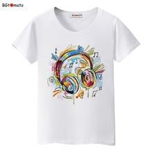 BGtomato love music Graffiti headphones T-shirts women colorful music summer shirts Brand new tees Comfortable causal tees