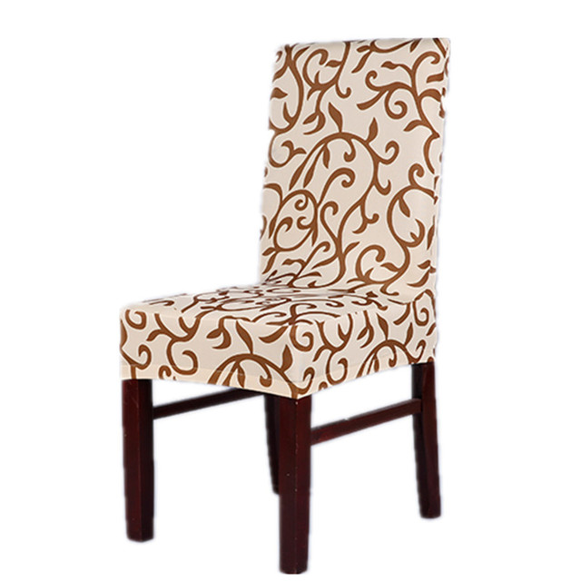 champagne brown sure fit soft stretch spandex pattern chair covers for kitchen chair short dining chair - Kitchen Chair Covers