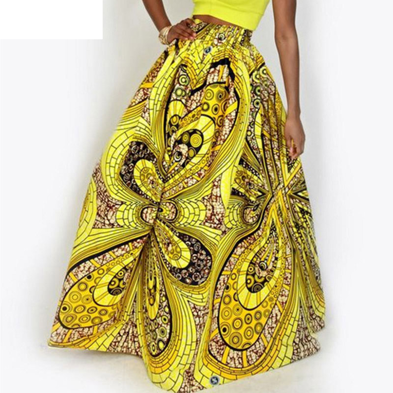 2019 Women African Dashiki Elastic Autumn Winter Summer Maxi Beach Skirt Floral Print High Waist Pleated Floor Length Long Skirt