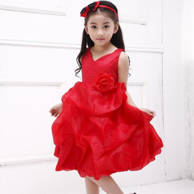 619627d9ef4 2019 nouvelle princesse fleur fille robe pour fête v-cou belle formelle rouge  filles Vestidos