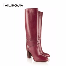 Popular Wine Red Zipper Woman Knee High Boots Round Toe Block Heel Fur Inside Hot Winter Keep Warm Ladies