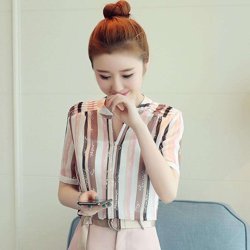 2018 New Summer Women Shirts Short Sleeve Print Striped Chiffon Spaghetti Strap V-Neck Send Inside Take Blouse Shirt Pink 8988