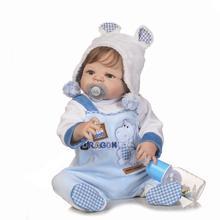22inch Boneca Bebe Reborn Doll 55cm Full Body Silicone Doll Baby Real Boy Blue Eyes Bebe Reborn Menino med Mjuka Blå Kläder