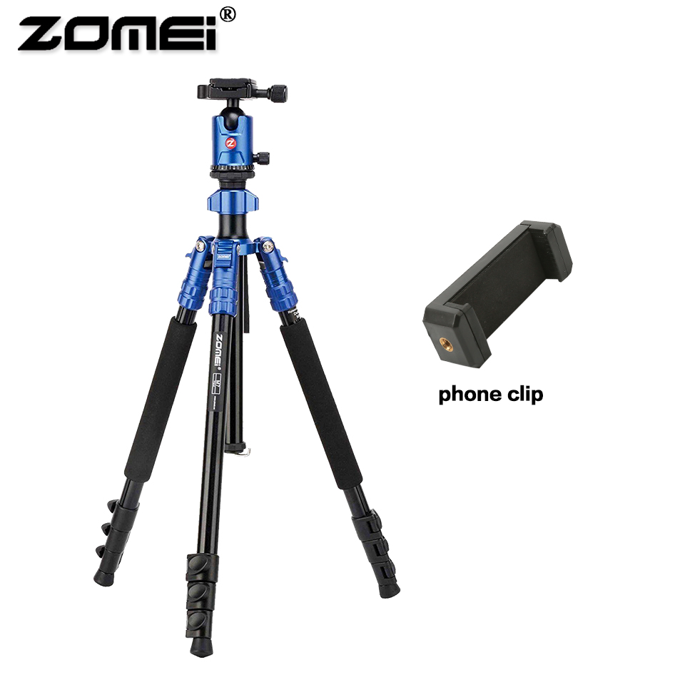 Zomei Aluminum Professional M7 Tripod Flexible Travel Camera Tripe with phone holder ball head For SLR