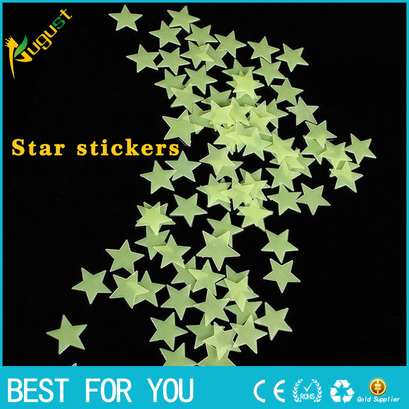 100pcs Wall Stickers Decal Glow In The Dark Baby Kids Bedroom Home Decor Color Stars Luminous