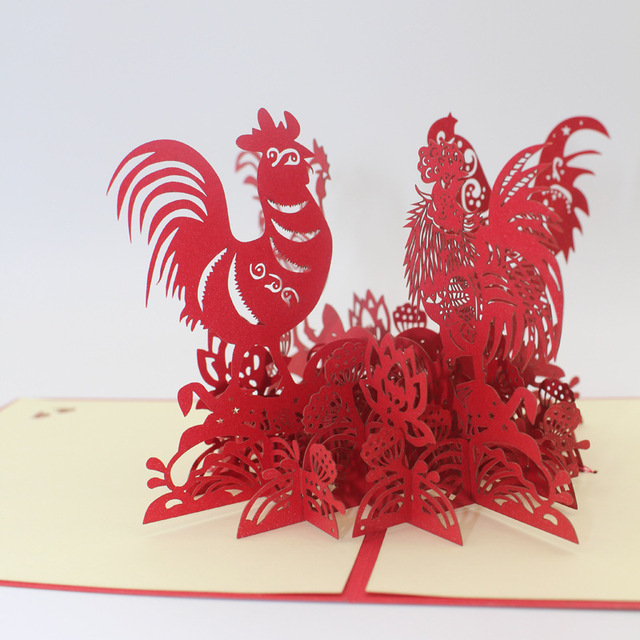 10 pieceslothappy new year of the rooster 3d laser cut pop