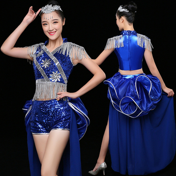 High quality new jazz dance costumes drums adult nightclub show fashion sexy modern dance costumes sequins female