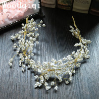 Woodqiqi Châu Âu Vàng Vương Miện Vương Miện màu Trắng hoa Hairbands Rhinestone Leaf tóc jewerly Bridal Wedding Head mảnh