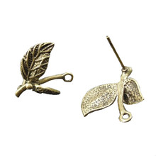 Julie 12Pieces New Design Leaf Shape Earring Tree Leaves Ear Rings Jewelry Alloy Bronze Studs Bohemia Style Girl Party 32664