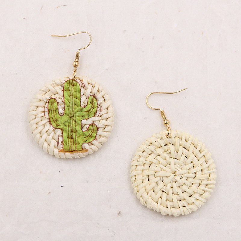 Round Wicker Rattan Earrings for Women Straw Woven Drop Earring Flamingo Cactus Earing Summer Jewelry Pendientes Mimbre in Drop Earrings from Jewelry Accessories
