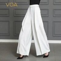 VOA тяжелый шелк белые широкие брюки ноги Для женщин офисные длинные брюки плюс Размеры 5XL свободные, весна Повседневное косые карман K338