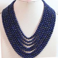 Original design 8 rows 6mm blue lapis lazuli stone round beads diy necklace semi precious jewelry making 17 26inch YE2072