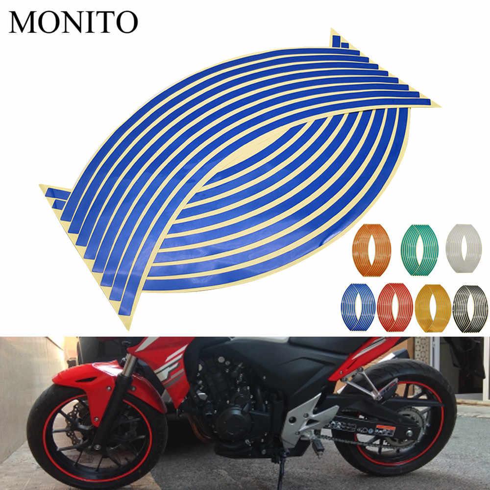 """รถจักรยานยนต์สติกเกอร์ล้อ 16 """"17"""" 18 """"สะท้อนแสง Decals ขอบเทปสำหรับ Honda CB 300F 500F CBR600RR CBR929RR CBR954RR CB1000R"""