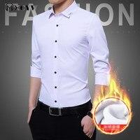 Plus Size Men S Shirts Business Casual Slim Male Shirt Plus Velvet Thicken Camisa Masculina Fashion