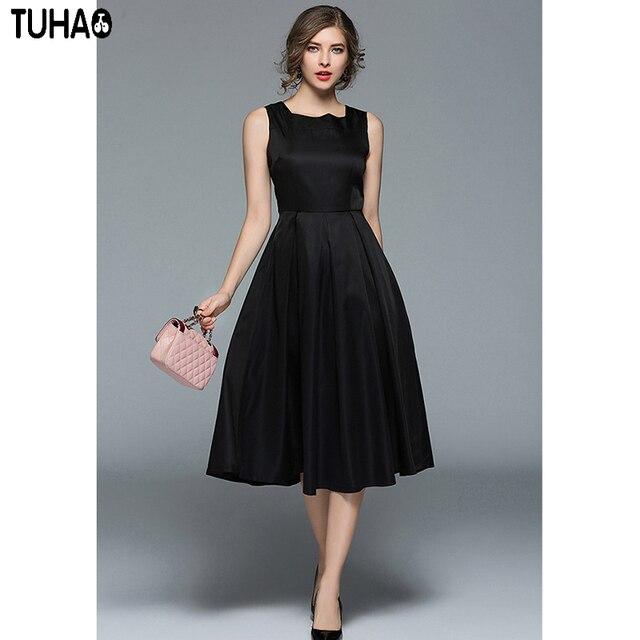 TUHAO Classic Black Elegant Vintage Retro Hepburn Vestidos Square Collar  Sleeveless Big Swing Sexy Ladies Vest 2c00f8c08