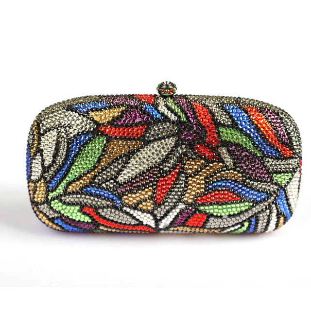 Luxury Women Designer Handbags High Quality Brand Crystal Clutch Purse Leaves Patterns Multi Color Evening