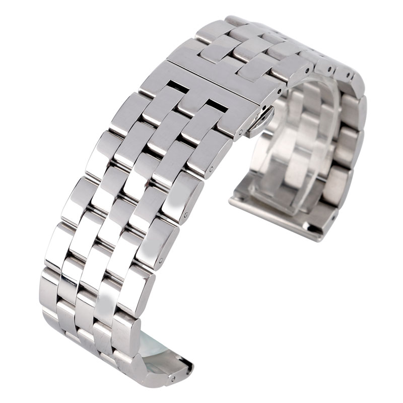 24/26mm Luxury Bracelet Silver Solid Stainless Steel Link Deployment Buckle Men Women Wrist Watch Band Strap + 2 Spring Bars 22mm silver golden color butterfly buckle wrist quartz watch stainless steel band strap bracelet 2 spring bars gd013222