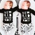 2016 Otoño Nuevas muchachas de los bebés ropa Del Mameluco Del bebé cartas de algodón de manga Larga T-shirt + pants del bebé recién nacido ropa