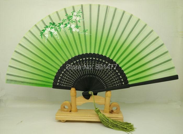 15pc Hand Held Bamboo 100% Silk Folding Fan With Free Tassel Wedding Favor,free shipping