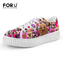 Trend Women Flat Platform Shoes Cute Animal Bull Dog Print Creepers Shoes Casual Female Ladies Flat Walking Shoes zapatos mujer