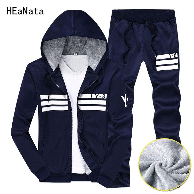 Hiver marque hommes ensembles hiver chaud Sweat à capuche Sportswear costumes deux pièces survêtement + pantalon ensemble hommes Sweat costumes grande taille 9XL
