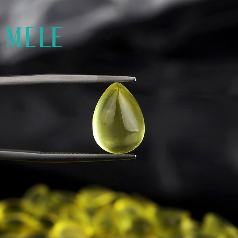Natural golden yellow prehnite10x14mm 6.3ct loose stone DIY stone matching Designer stone matching Water drops forwomen