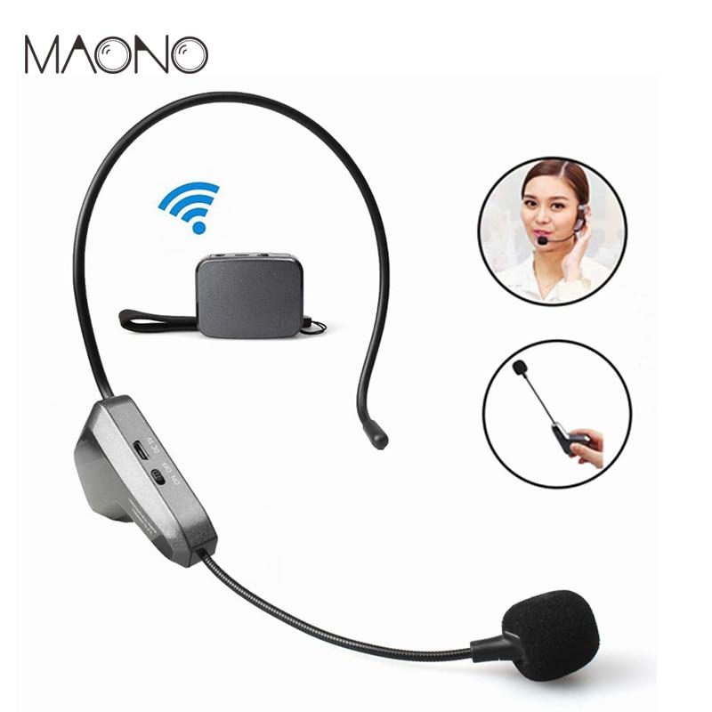 MAONO 2.4G Wireless Microphone Hands Free Lightweight Headworn Micofone Professional Handheld Vocal Mic for YouTube Speech Mixer