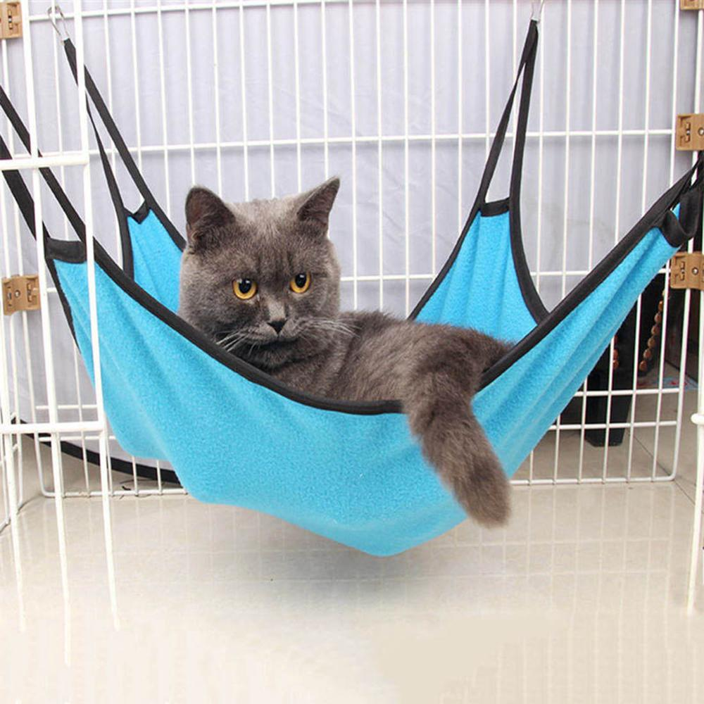 Cat Hammock Warm Soft Fleece Hanging Bed Cat Mat Kitten Bed Pad Pet Cat Bed For Puppy Comfortable Pet Cage Hammock