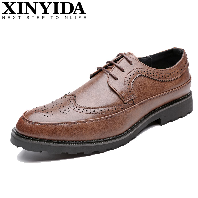2018 Plus Size 47 48 Men Leather Shoes Men's Lace-Up Breathable Formal Business Casual Shoes Fashion Pointed Toe Dress Shoes Man men s brogue shoes fashion brown pointed toe leather shoes breathable lace up men casual shoes moccasins size 38 43 8205m