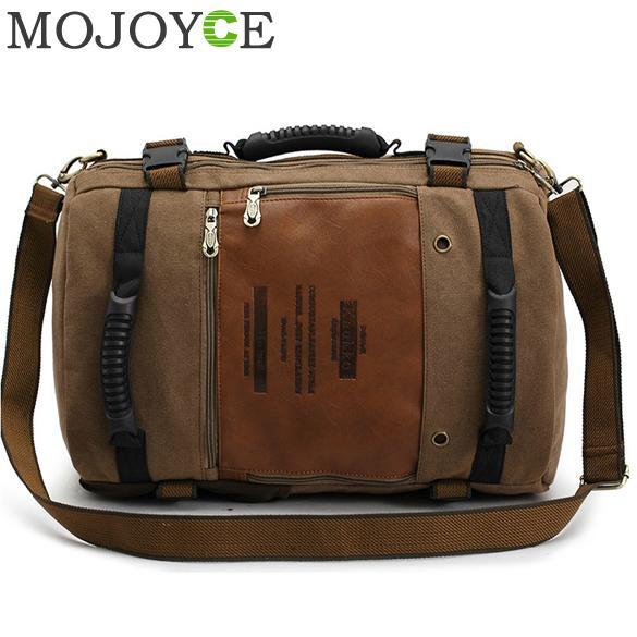 ФОТО Men Multipurpose Large Shoulder Bag Canvas Backpack Dark Khaki Famous Mens Tote Bags Fashion Military Army Travel Men Large Bag