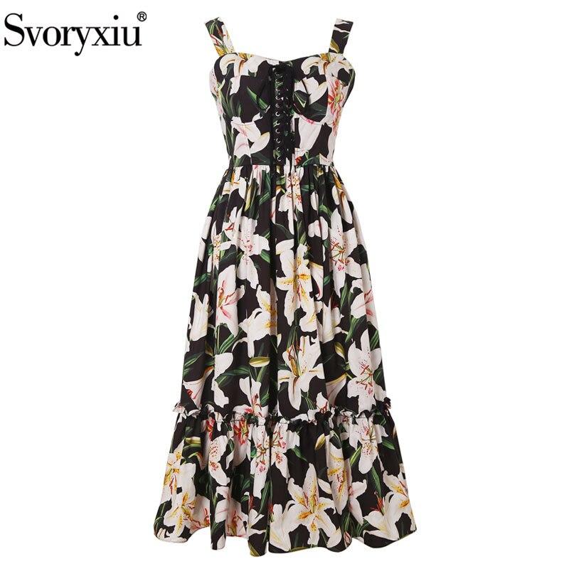 Svoryxiu Runway Summer 100 Cotton lily Flower Print Midi Dress Women s Sexy Bandage Beach Holiday