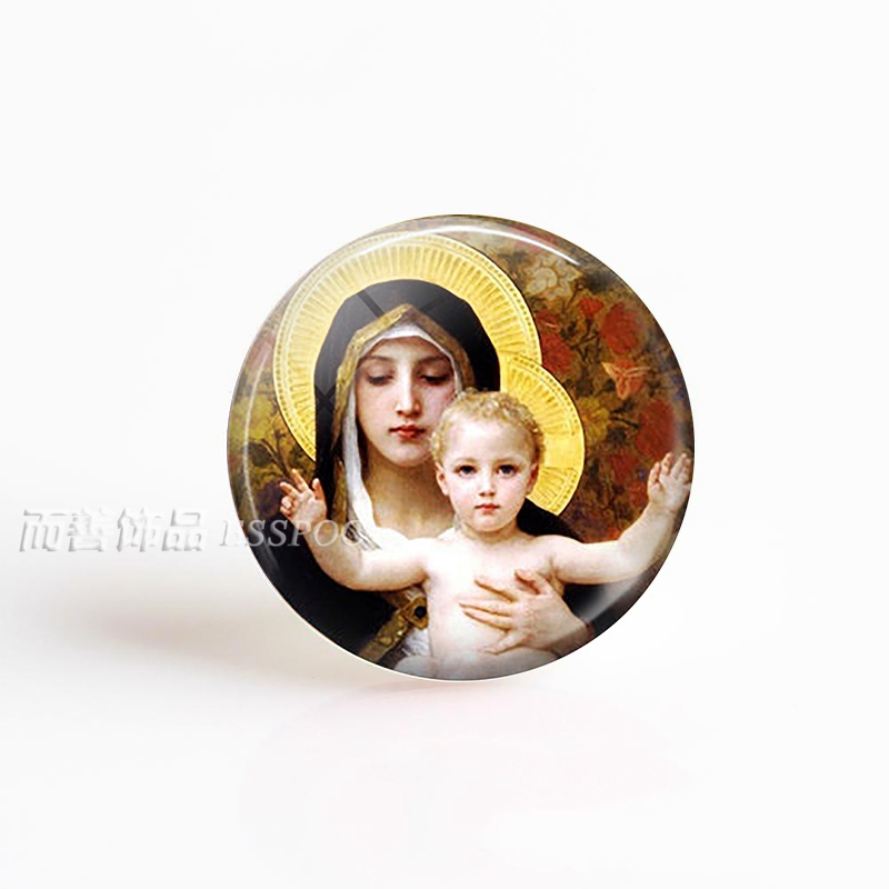 5PCS SET Virgin Mary and Baby Jesus Christian Catholicism Blessed Mother Religious Art Glass Dome Pendant Making Jewelry in Jewelry Findings Components from Jewelry Accessories