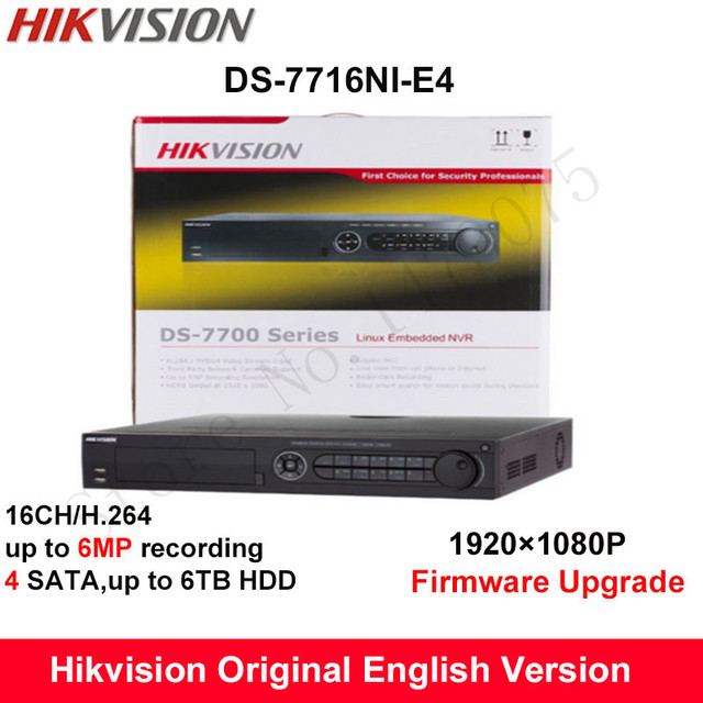 In stock Hikvision Original English NVR DS-7716NI-E4 NVR 16ch 4 SATA support 4HDD supporting alarm, no POE NVR for CCTV camera