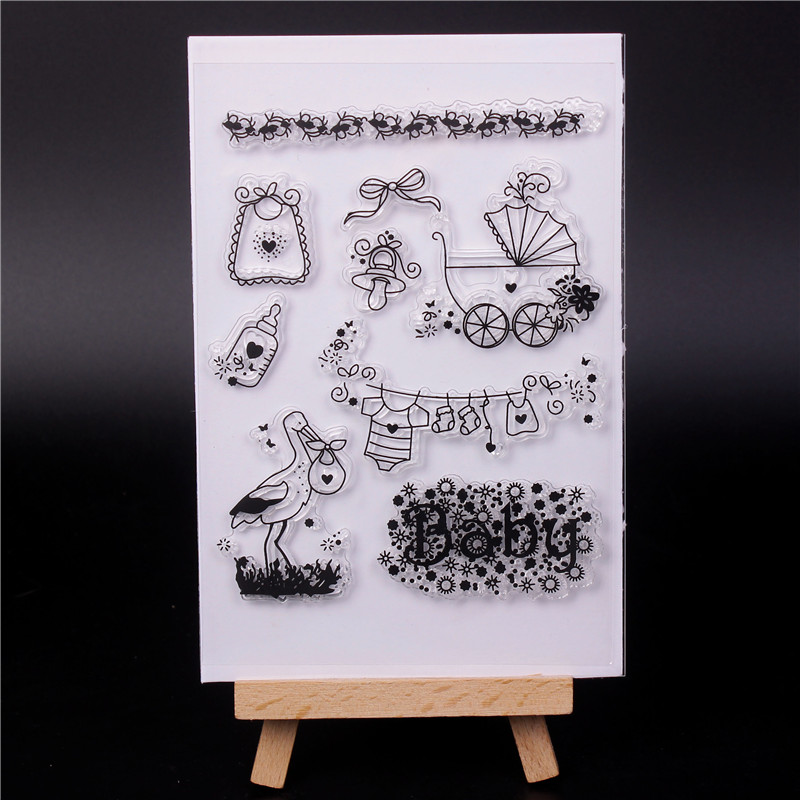 Rubber Silicone Clear Stamps for Scrapbooking Tampons Transparents Seal Background Stamp Card Making Diy crane bottle in Stamps from Home Garden