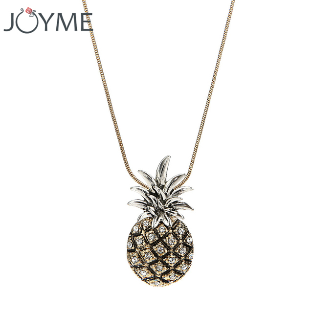 necklace friend yellow tone for pink best chokers fashion pineapple wholesale link free women chains product silver pendant crystal short with ananas zircon